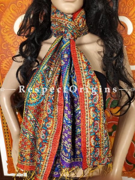 Kantha Stitch Patchwork Silk Multicoloured Stoles; Length 66 x17 width Inches; RespectOrigins.com