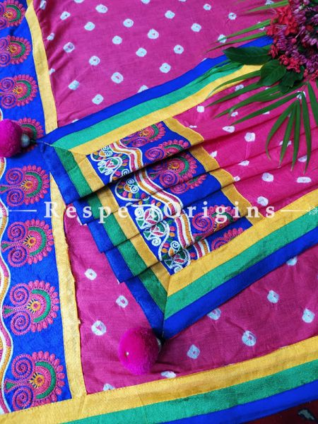 Vibrant Classy Pink Stole in Tie Dye Bandhani with Tribal Embroidered Borders; x Inches; RespectOrigins.com