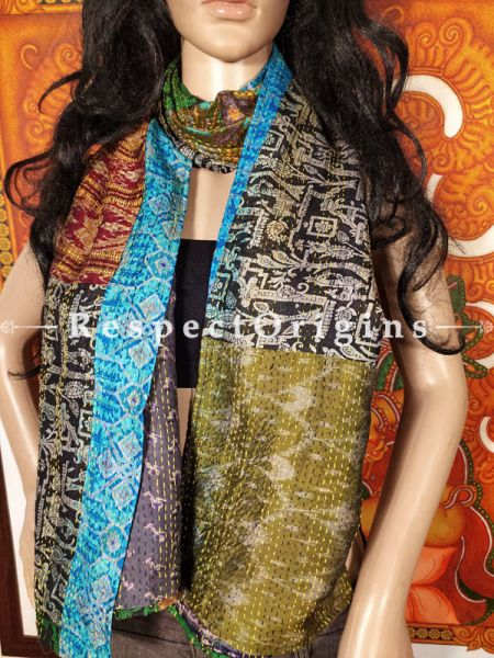 Kantha Stitch Patchwork Silk Multicoloured Stoles; Length 66 x width 17 Inches; RespectOrigins.com