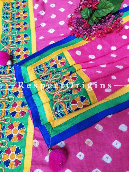 Exotic Boho Pink Stole in Tie Dye Bandhani with Tribal Embroidered Borders;90 x32 Inches; RespectOrigins.com
