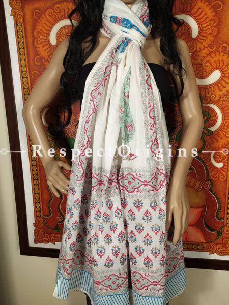 Summery Chanderi Stole in Sanganeri Hand Block-print;95 x45 Inches; RespectOrigins.com