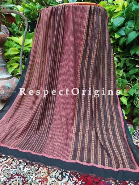 Striped Black n Maroon Chanderi Cotton Stole in Hand Block-print;95 x45 Inches; RespectOrigins.com