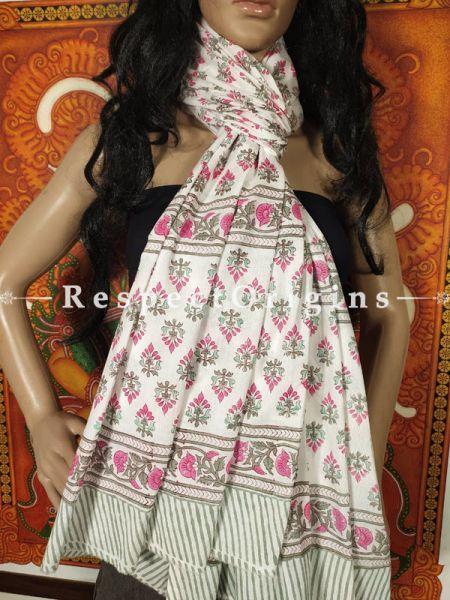 Meera Sanganeri Soft Cotton Stole in Hand Block-print;95 x45 Inches; RespectOrigins.com