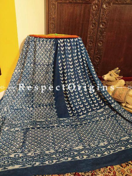 Blue Bagru Hand-block Printed Natural Indigo Dye Cotton Stole;95 x45 Inches; RespectOrigins.com
