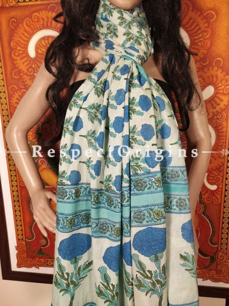 Europa Blue n Green Floral Stole in Hand Block-print;95 x45 Inches; RespectOrigins.com
