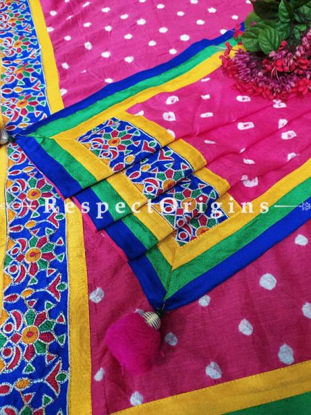 Vibrant Classy Pink Stole in Tie Dye Bandhani with Tribal Embroidered Borders;90 x32 Inches; RespectOrigins.com