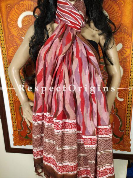 Mauve Red Brown Chanderi Cotton Stole in Hand Block-print;95 x45 Inches; RespectOrigins.com