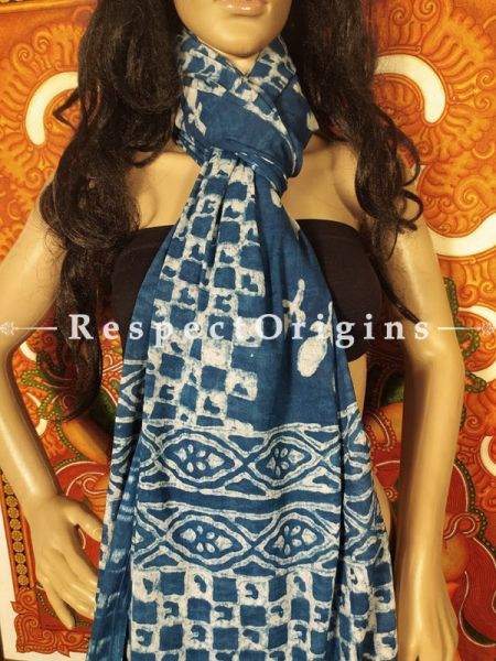Oceana Powder Blue Chanderi Cotton Stole in Hand Block-print;95 x45 Inches; RespectOrigins.com