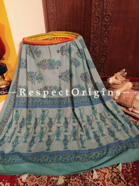 Bagru Hand-block Printed Natural Indigo Dye Cotton Stole;95 x45 Inches; RespectOrigins.com