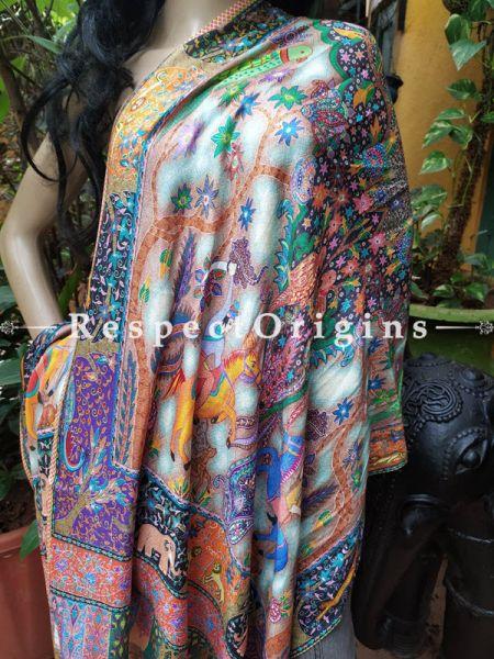 Ivory & Orange Designer Fine Luxury Formal Silken Stoles for Work Wear or Evening Wear;Length 80 x 30 Width Inches.; RespectOrigins.com