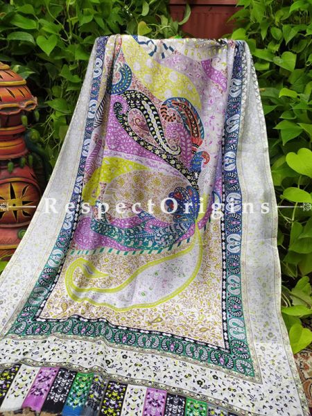 Fashionable Multicolor Designer Fine Luxury Formal Silken Stoles for Work Wear or Evening Wear;Length 80 x 30 Width Inches.; RespectOrigins.com