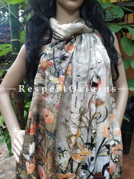 Grey Designer Fine Rich Formal Silken Stoles for Work Wear or Evening Wear;Length 80 x 30 Width Inches.; RespectOrigins.com