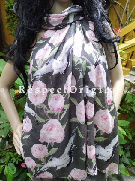 Black & Pink Designer Fine Rich Formal Silken Stoles for Work Wear or Evening Wear;Length 80 x 30 Width Inches.; RespectOrigins.com