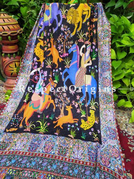 Black & Mustard Designer Fine Rich Formal Silken Stoles for Work Wear or Evening Wear;Length 80 x 30 Width Inches.; RespectOrigins.com