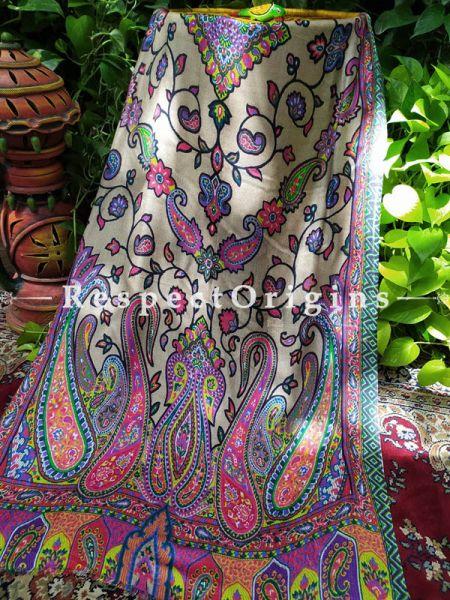 Ivory Designer Fine Luxury Formal Silken Stoles for Work Wear or Evening Wear;Length 80 x 30 Width Inches.; RespectOrigins.com