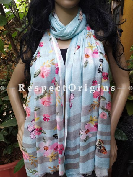 Sky Blue Designer Fine Luxury Formal Silken Stoles for Work Wear or Evening Wear;Length 80 x 30 Width Inches.; RespectOrigins.com