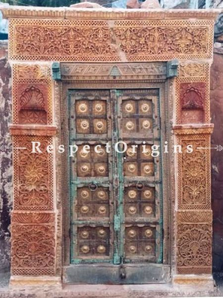 Buy Antique Hand Carved Haweli Jaisalmer Stone Frame with Door. At RespectOrigins.com