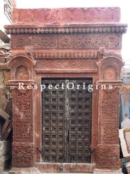 Buy Exclusive Antique Hand Carved Haweli Jaisalmer Pink Stone Frame with Door. At RespectOrigins.com