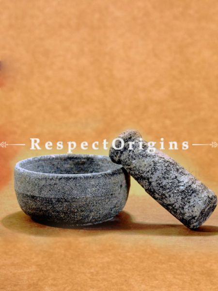 Toxic-Free & Hand-Seasoned Stone Mortar And Pestle (Small)-Pr-50222-70453