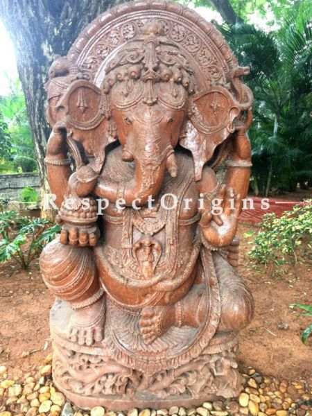 Buy Work Of Art- An Elaborately Carved Stone Statue Of Ganesha For Garden And Entranceways |Respectorigins