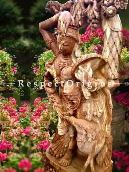 Buy Lovely Statue Of Devadasi Carved Intricately In Stone For Poolside Or Outdoor |Respectorigins
