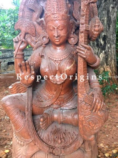 Buy Beautiful Goddess Saraswati Stone Sculpture For Indoor And Patio |Respectorigins