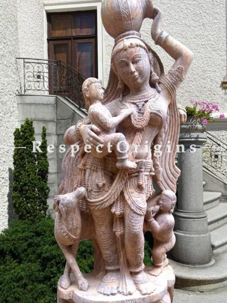 Buy Fascinating Intricately Carved Devadasi Stone Statue For Poolside |Respectorigins