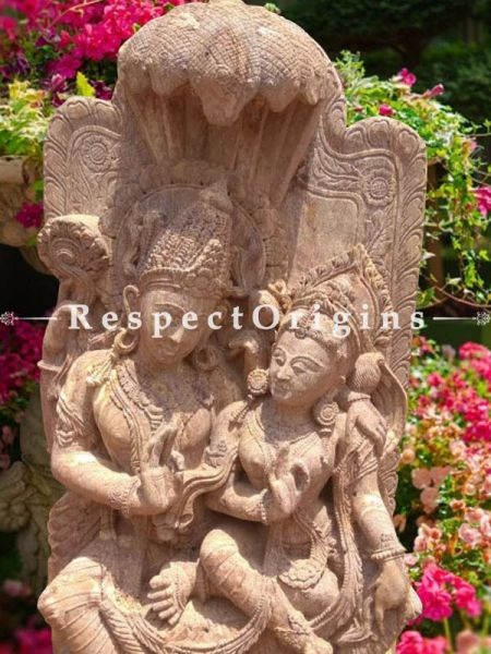 Phenomenal Stone Vishnu And Lakshmi Seated On Five Headed Serpent Statue for Outdoors
