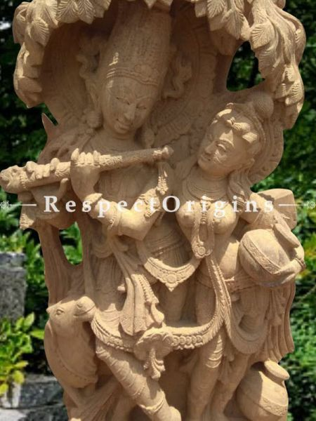 Eternal Beloved Radha Krishna Outdoor Or Indoor Statue Under A Tree Carved In Pink Stone.; Respectorigins