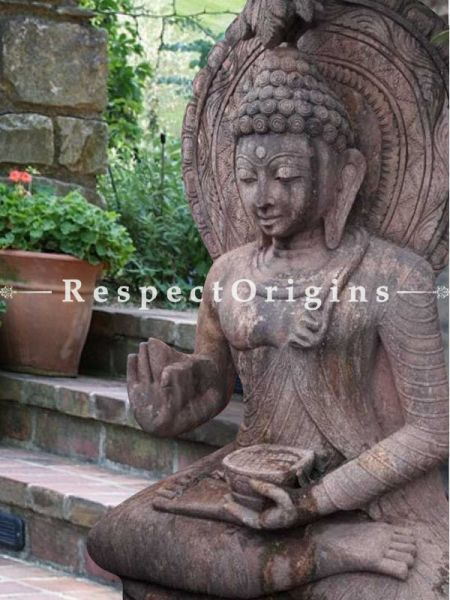 Buy Peaceful Stone Statue Of Buddha In Abhaya Mudra Pose Holding A Alms Bowl For Garden |Respectorigins