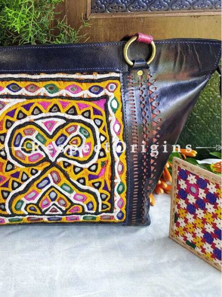 Hand Embroidery Black Leather Shoulder Bags; Hand-stitched & Embroidered Kutchi Mirror Work; RespectOrigins.com