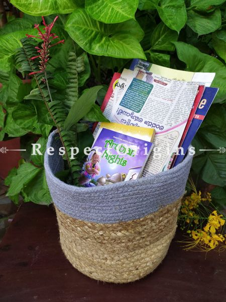 Blue n Beige Stylish Organic Hand-braided Jute Planter, Laundry, Blankets or Toys Basket; 10 Inches; RespectOrigins.com