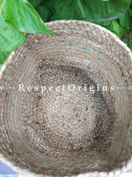 Natural Stylish Hand-braided Jute Planter, Laundry, Blankets or Toys Basket; 10 Inches; RespectOrigins.com