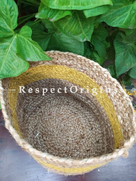 Yellow n Beige Organic Hand-braided Jute Planter, Laundry, Blankets or Toys Basket; 8 Inches; RespectOrigins.com