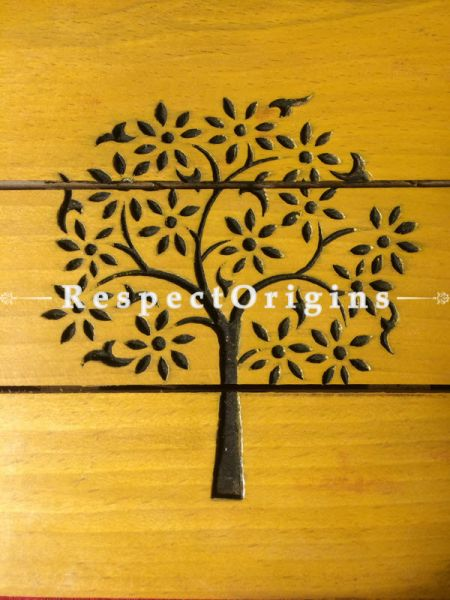 Ecofriendly, Green Products, Stylish Square yellow wooden Coaster with Tree Pattern Drawn, RespectOrigins