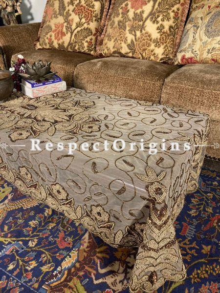 Elegant Table Cover on Beige Net with Beadwork, 80x40 in; RespectOrigins.com