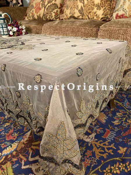 Pleasing Table Cover on Beige Net with Beadwork, 80x40 in; RespectOrigins.com