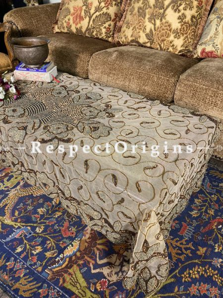 Attractive Table Cover on Beige Net with Beadwork, 80x40 in; RespectOrigins.com