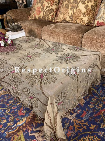 Lovely Table Cover on Beige Net with Beadwork, 80x40 in; RespectOrigins.com
