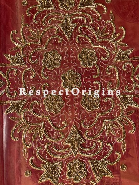 Lovely Table Cover on Red Net with Beadwork, 80x40 in; RespectOrigins.com