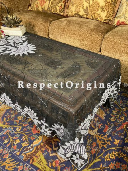 Lovely Table Cover on Black Net with Beadwork, 80x40 in; RespectOrigins.com