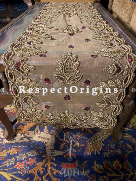Elegant Table Runner on Cream Net with Beadwork, 80x40 in; RespectOrigins.com