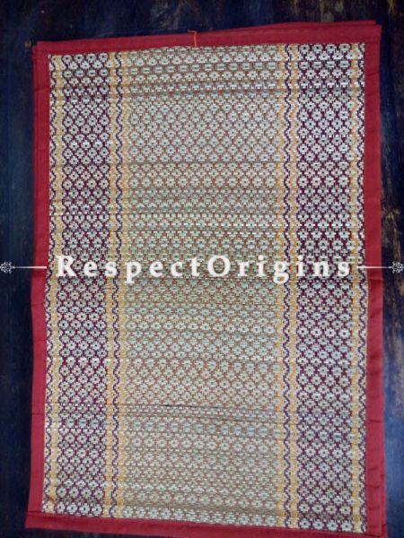 Buy Kusha Grass Mat Set of 6; Multi-Color with Red Border at RespectOrigins.com