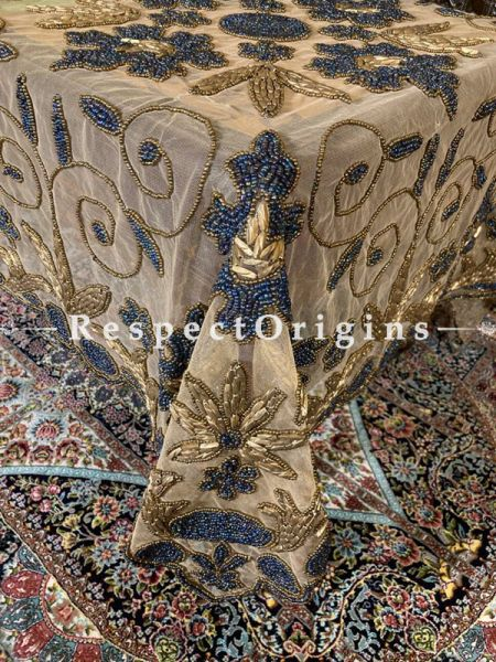 Regalia Luxury Handcrafted Nude with Powder Blue Embroidery Table Cloth in Net w/ fabulous Beadwork in Coppertones; RespectOrigins.com