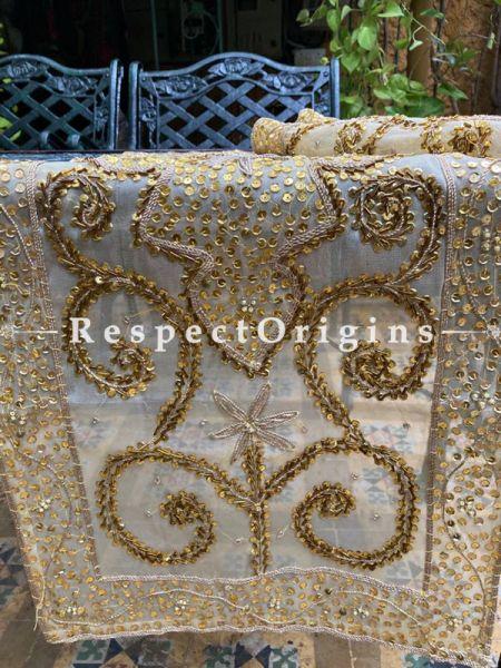 Golden Beadwork & Sequins on Beige Coloured Handmade & Embellished Dining Table- Runner with 2 Mat Set; RespectOrigins.com