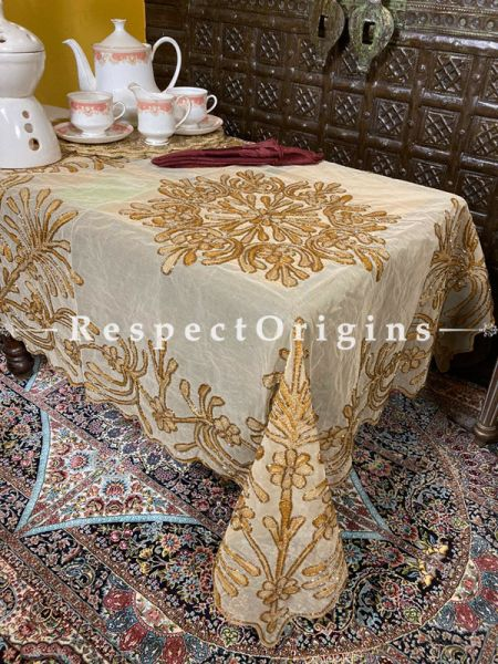 Gold on Beige Christmas Holiday Party Dining Table-cloth embellished with Beadwork and Sequins; Great Gift; RespectOrigins.com