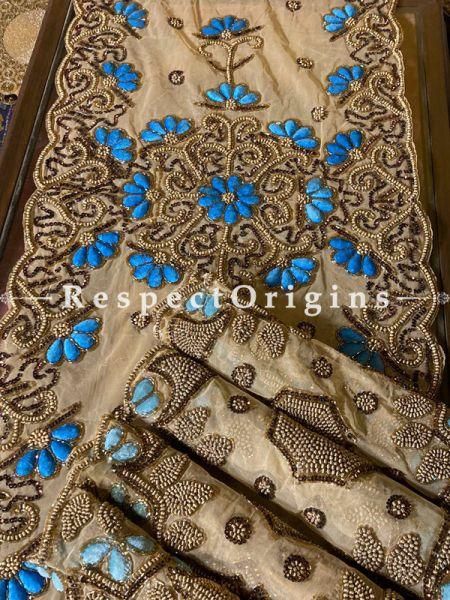 Blue Flowers Beadwork & Sequins on Beige Coloured Handmade & Embellished Dining Table- Runner with 4 Mat Set; RespectOrigins.com