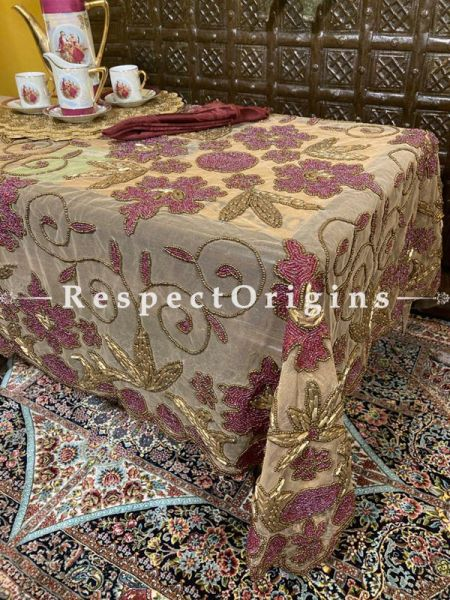 Antique Rose Luxury Table Dining Cover Gift in Net w/ fabulous Beadwork in Goldtones; RespectOrigins.com