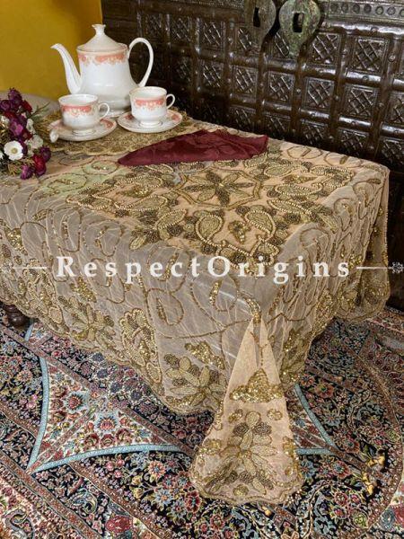 Fabulous Gold n Coppertones Handcrafted Beadwork on Net; Rectangular Dining Table-cloth; RespectOrigins.com