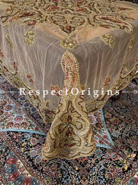 Delicate Gold n Coppertones Handcrafted Beadwork on Net; Rectangular Festive Dining Table-cloth; RespectOrigins.com